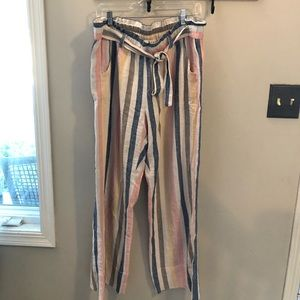 Pastel stripe linen belted pants